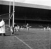 02/04/1967<br /> 04/02/1967<br /> 2 April 1967<br /> National Hurling League Semi-Final: Antrim v Kerry at Croke Park, Dublin.<br /> Antrim goalie, J. Corr, watches as the fourth Kerry goal enters the net. This goal was scored by T Nolan (in the distance, second from the left) with E. O'Sullivan on the right.