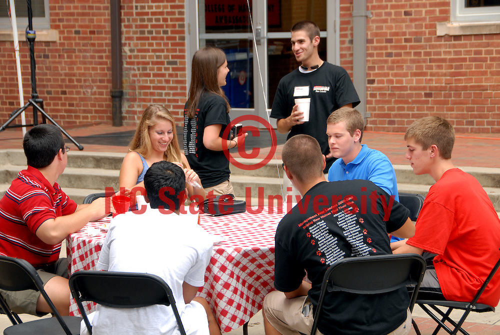 Freshman welcome party outside Nelson Hall. PHOTO BY ROGER WINSTEAD