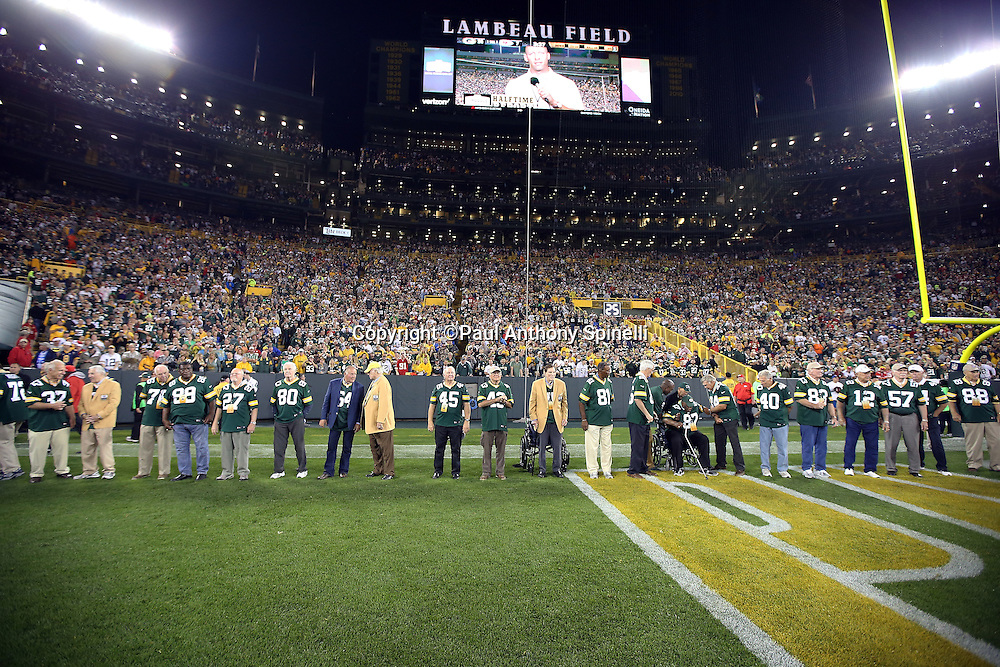Former members of the Green Bay Packers Super Bowl I team that beat the Kansas City Chiefs are announced during halftime festivities during the Green Bay Packers 2015 NFL week 3 regular season football game against the Kansas City Chiefs on Monday, Sept. 28, 2015 in Green Bay, Wis. The Packers won the game 38-28. (©Paul Anthony Spinelli)