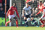 Albert Adomah fights for the ball during the EFL Sky Bet Championship match between Nottingham Forest and Luton Town at the City Ground, Nottingham, England on 19 January 2020.