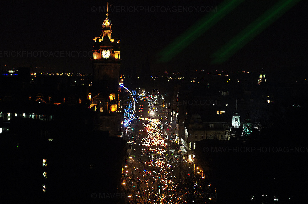 Edinburgh kicked off its Hogmanay celebrations with thousands of people joining in a torchlit procession creating a river of fire through the city centre, Edinburgh, Scotland, UK - 29th December 2008. The revellers gathered for the event finale for the burning of a huge rampant lion on top of Calton Hill...Picture Richard Scott/Maverick