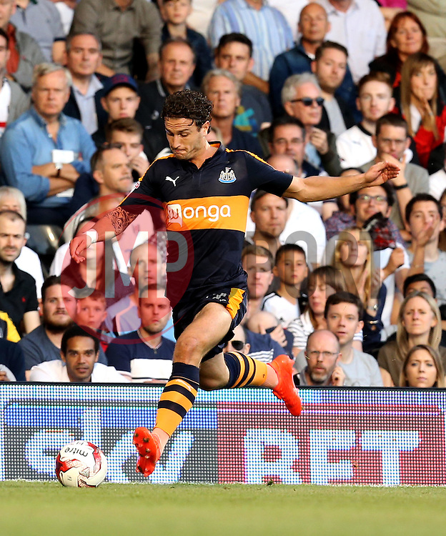 Daryl Janmaat of Newcastle United crosses the ball in front of a Sky Bet advertising board - Mandatory by-line: Robbie Stephenson/JMP - 05/08/2016 - FOOTBALL - Craven Cottage - Fulham, England - Fulham v Newcastle United - Sky Bet Championship