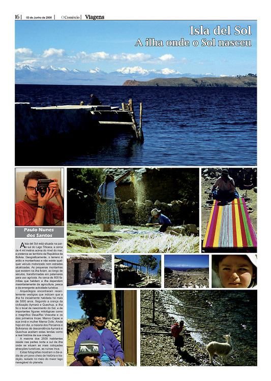 """Isla del Sol: a ilha onde o Sol nasceu"" in O Comercio"