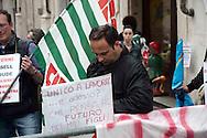 Roma 4  Maggio  2010.Manifestazione sindacale dei lavoratori della  Basell Poliolefine Italia con stabilimento a Terni che verranno licenziati per la  chiusura dello stabilimeto entro l'anno, davanti al Parlamento..Rome May 4, 2010.Demonstration of union  of the workers of Basell Polyolefins Italy  with factory to Terni  which will be redundant  for close the plant.<br /> the banner reads:Only to work ... now what?.Who thinks the future of my children?