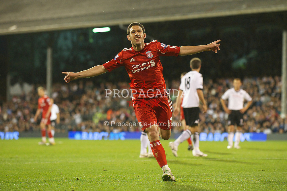 LONDON, ENGLAND - Monday, May 9, 2011: Liverpool's Maximiliano Ruben Maxi Rodriguez scores the third of his hat-trick of goals against Fulham to put his side 4-1 up during the Premiership match at Craven Cottage. (Photo by David Rawcliffe/Propaganda)