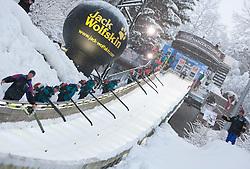 06.01.2012, Paul Ausserleitner Schanze, Bischofshofen, AUT, 60. Vierschanzentournee, FIS Ski Sprung Weltcup, Qualifikation, im Bild Arbeiter sind damit beschäftigt den Schnee aus der Anlaufspur zu blasen // during qualification of 60th Four-Hills-Tournament FIS World Cup Ski Jumping at Paul Ausserleitner Schanze, Bischofshofen, Austria on 2012/01/06. EXPA Pictures © 2012, PhotoCredit: EXPA/ Johann Groder
