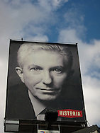 Billboard for documentary on politician Gilles Duceppe on a Montreal street.