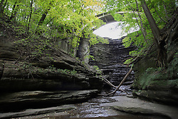 25 September 2012:   Illinois scenery near Oglesby and Ottawa..Matthiessen State Park. Hiking trail in the Upper Dells area has a stair case leading out.  The creek is dry this year because of the 2012 drought.  This is directly beneath the lake waterfall and bridge.