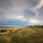 Long exposure of the ruggedly beautiful Kaikoura Coastline, with a moody sky, and tussocks blowing in the wind. Kaikoura Coast, Canterbury, New Zealand. September.