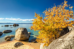 """""""Whale Beach in Autumn 2"""" - Photograph of Whale Beach, Lake Tahoe shot in the fall, Whale Rock can be seen in the distance."""