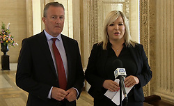 Robin Swann, leader of the Ulster Unionist Party, and Michelle O'Neill, vice president of Sinn Fein. Uncertainty at Westminster and over Brexit form the backdrop to the latest effort to negotiate a deal between the main Stormont parties.