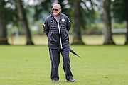 Ex England and Leeds United player Terry Cooper watches his son Mark take a training session during the Forest Green Rovers Training at the Cirencester Agricultural College, Cirencester, United Kingdom on 12 July 2016. Photo by Shane Healey.