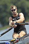 Poznan, POLAND,  NZL M1X,   Mahe DRYSDALE, competing in the heats of the men's single scull, on the first day of the, 2009 FISA World Rowing Championships. held on the Malta Rowing lake, Sunday 23/08/2009 [Mandatory Credit. Peter Spurrier/Intersport Images]
