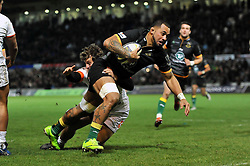 Samu Manoa of Northampton Saints scores his first try - Photo mandatory by-line: Patrick Khachfe/JMP - Mobile: 07966 386802 13/12/2014 - SPORT - RUGBY UNION - Northampton - Franklin's Gardens - Northampton Saints v Treviso - European Rugby Champions Cup