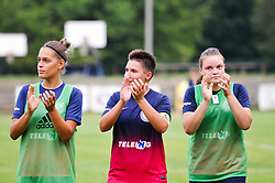 Manja Rogan and other players od ZNK Pomurje during the UEFA Women's Champions League Qualifying Match between ZNK Teleing Pomurje (SLO) and Olimpia Cluj (ROU) at Sportni Park on August 16, 2015 in Beltinci, Slovenia. Photo by Mario Horvat / Sportida