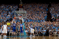 CHAPEL HILL, NC - MARCH 05: Fans of the North Carolina Tar Heels distract and antagonize Kyle Singler #12 of the Duke Blue Devils while he takes a foul shot on March 05, 2011 at the Dean E. Smith Center in Chapel Hill, North Carolina. North Carolina won 67-81. (Photo by Peyton Williams/UNC/Getty Images) *** Local Caption *** Kyle Singler