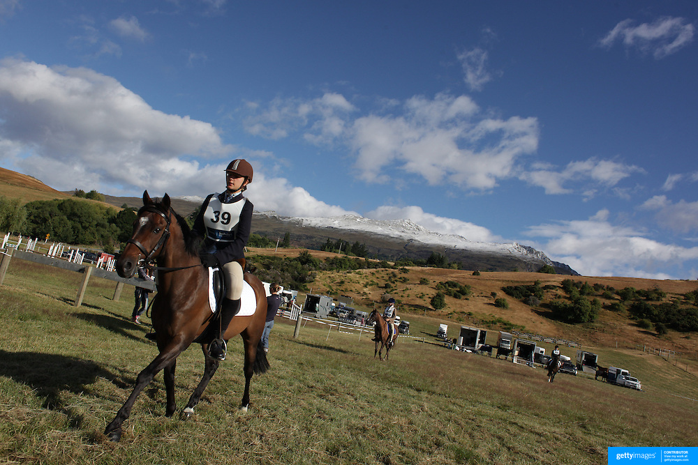 Sacha Holm-Smith riding Willow prepares for the Dressage event at the Wakatipu One Day Horse Trials,  Queenstown, Otago, New Zealand. 15th January 2012. Photo Tim Clayton