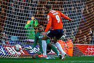 Paul Benson of Luton Town has his shot saved by Jordan Archer of Northampton Town during the Sky Bet League 2 match at Kenilworth Road, Luton<br /> Picture by David Horn/Focus Images Ltd +44 7545 970036<br /> 25/10/2014