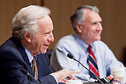 Apr. 20, 2009 -- PHOENIX, AZ: US Senators JOE LIEBERMAN (IND-CT) left, and JON KYL (R-AZ) hold a senate committee hearing in Phoenix Monday. The US Senate Committee on Homeland Security and Government Affairs, chaired by Sen. Joe Lieberman (Ind-CT), held a hearing about local perspectives on border violence in the Phoenix City Council chambers in Phoenix, AZ, Monday.   Photo by Jack Kurtz