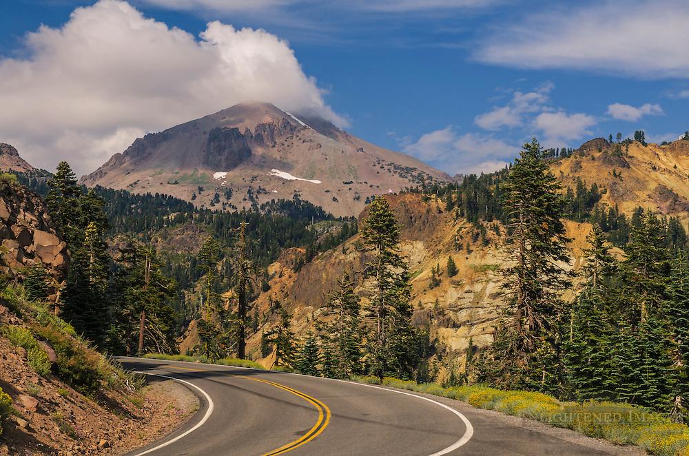 Lassen Peak above Highway 89,  Lassen Volcanic National Park, California