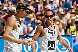Matt Fuerbringer and Nick Lucena of USA talking at A1 Beach Volleyball Grand Slam tournament of Swatch FIVB World Tour 2010, final, on August 1, 2010 in Klagenfurt, Austria. (Photo by Matic Klansek Velej / Sportida)