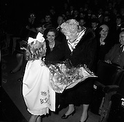 17/04/1961<br /> 04/17/1961<br /> 17 April 1961<br /> Opening of the School Drama Festival in the Gate Theatre  by President Eamonn de Valera. Mrs Sile de Valera receiving a gift of a flowers.