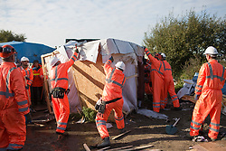 French authorities start to disassemble the notorious 'Jungle' camp as part of operation planned to clear the camp, more than 7,000 refugees will be moved to evacuation centers across France. Calais, France, on October 25, 2016. Photo by Bakounine/ABACAPRESS.COM