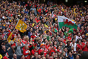 Australian and Welsh fans cheering their teams onto the pitch during the Rugby World CupPool A match between Australia and Wales at Twickenham, Richmond, United Kingdom on 10 October 2015. Photo by Matthew Redman.