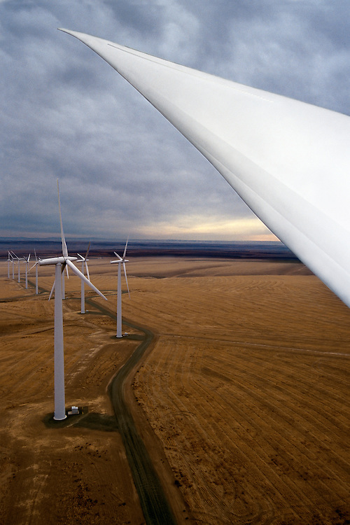 These 220-foot-tall wind towers are part of the Nine Canyon Wind Project outside of Richland, Washington.