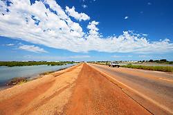 Water either side of the main Broome highway on a super high tide, April 2012.