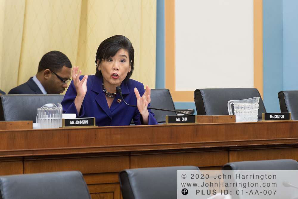 """Representative Judy Chu (D-CA) asks questions of the panelists during testimony before the House Committe on the Judiciary on """"Innovation in America: The Role of Technology"""", August 1, 2013on Capitol Hill in Washington, DC."""