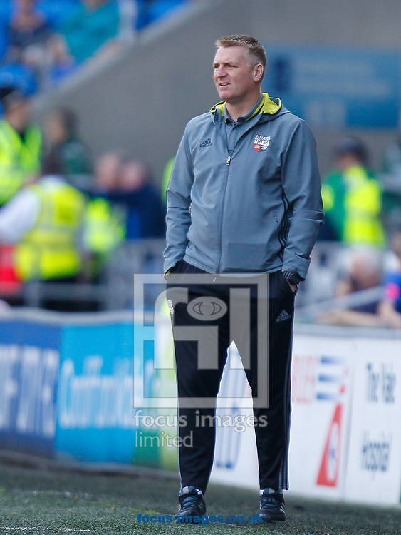 Brentford Head Coach Dean Smith during the Sky Bet Championship match between Cardiff City and Brentford at the Cardiff City Stadium, Cardiff<br /> Picture by Mark D Fuller/Focus Images Ltd +44 7774 216216<br /> 08/04/2017