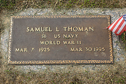 31 August 2017:   Veterans graves in Park Hill Cemetery in eastern McLean County.<br /> <br /> Samuel L thoman S1 US Navy  World War II  Mar 7 1925  Mar 30 1995