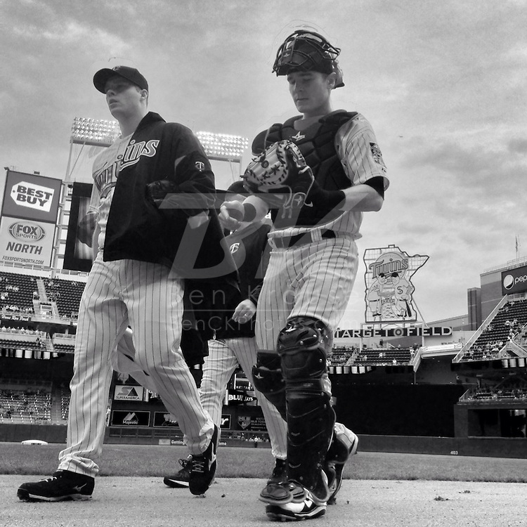 An Instagram of Minnesota Twins Andrew Albers and Chris Herrmann before a game against the Toronto Blue Jays at Target Field in Minneapolis, Minnesota.