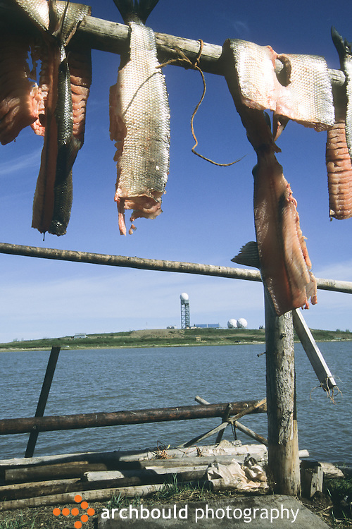 Fishing hanging, with Dew Line in distance, Tuktoyaktuk