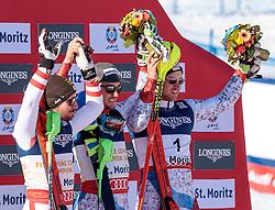 13.02.2017, St. Moritz, SUI, FIS Weltmeisterschaften Ski Alpin, St. Moritz 2017, alpine Kombination, Herren, Flower Zeremonie, im Bild v.l. Marcel Hirscher (AUT, Herren Alpine Kombination Silbermedaille), Luca Aerni (SUI, Herren Alpine Kombination Weltmeister und Goldmedaille), Mauro Caviezel (SUI, Herren Alpine Kombination Bronzemedaille) // f.l. men's Alpine Combined Silver medalist Marcel Hirscher of Austria men's Alpine Combined world Champion and Gold medalist Luca Aerni of Switzerland men's Alpine Combined Bronze medalist Mauro Caviezel of Switzerland during the Flowers ceremony for the men's Alpine combination of the FIS Ski World Championships 2017. St. Moritz, Switzerland on 2017/02/13. EXPA Pictures © 2017, PhotoCredit: EXPA/ Johann Groder