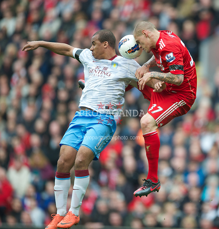 LIVERPOOL, ENGLAND - Saturday, April 7, 2012: Liverpool's Martin Skrtel in action against Aston Villa's Gabriel Agbonlahor during the Premiership match at Anfield. (Pic by David Rawcliffe/Propaganda)