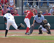 Nebraska's Jake Opitz (3) waits on Kansas State's Adam Cowart's pitch.  Nebraska held on to be Kansas State 5-4 at Tointon Stadium in Manhattan, Kansas, April 1, 2006.