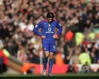 Photo: Lee Earle.<br /> Liverpool v Manchester United. The FA Cup. 18/02/2006. United's Ruud van Nistelrooy looks dejected after losing to Liverpool.