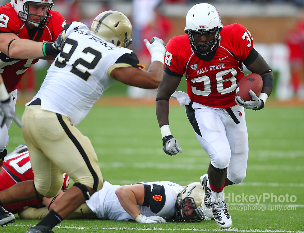 Sept. 24, 2011; Muncie, IN, USA; Ball State Cardinals running back Jahwan Edwards (38) runs the ball against the Army Black Knights at Scheumann Stadium. Mandatory credit: Michael Hickey-US PRESSWIRE