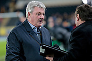 Steve Bruce (Hull City) is interviewed before the The FA Cup fifth round match between Hull City and Arsenal at the KC Stadium, Kingston upon Hull, England on 8 March 2016. Photo by Mark P Doherty.