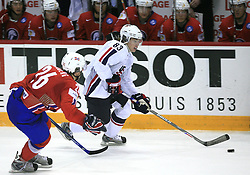 Kristian Forsberg of Norway and Pat Kane (83) of USA at ice-hockey game Norway vs USA at Qualifying round Group F of IIHF WC 2008 in Halifax, on May 12, 2008 in Metro Center, Halifax, Nova Scotia, Canada. USA won 11:1. (Photo by Vid Ponikvar / Sportal Images)