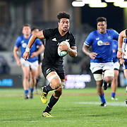All Black No. 8, Ardie Savea, cruises in for a first half try vs. Samoa. The New Zealand All Blacks defeated Manu Samoa 15's 83-0 at Eden Park, Auckland, New Zealand.  Photo by Barry Markowitz, 6/16/17