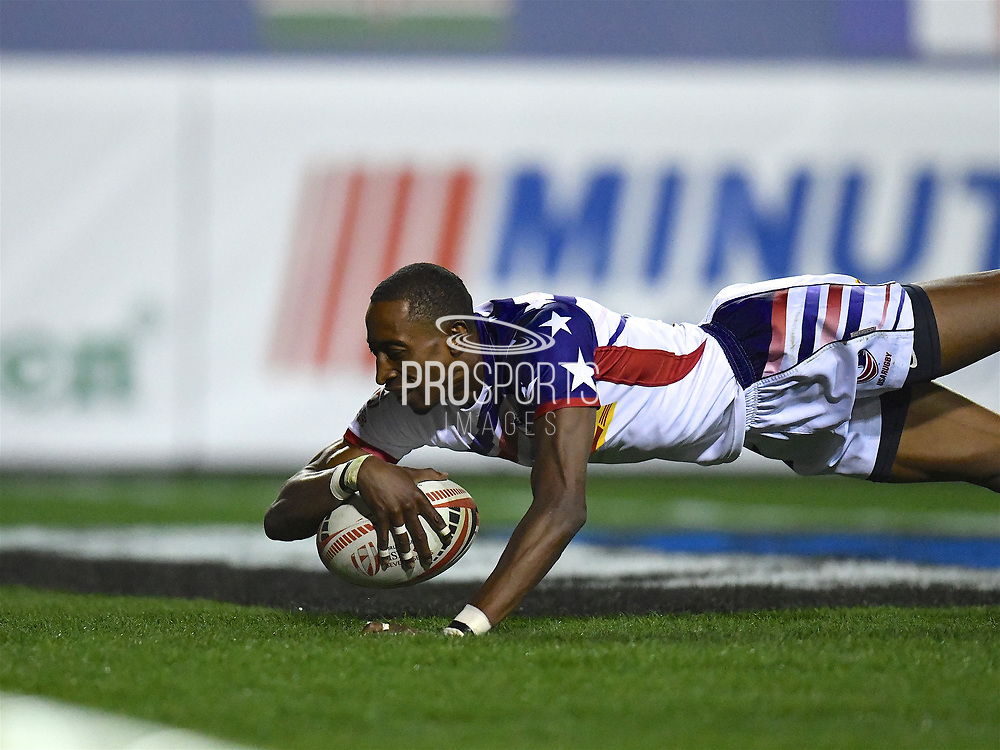 USA player touches the ball down to score a try in the game USA vs Australia during the USA Sevens Rugby Series at Sam Boyd Stadium, Las Vegas, USA on 2 March 2018. Picture by Ian  Muir.