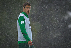 22.07.2011, Oeschberghof, Donaueschingen, Trainingslager 2011 GER, 1.FBL, Werder Bremen Trainingslager Donaueschingen 2011, im Bild Sokratis Papastathopoulos (Bremen #22) steht im regen..// during the trainings session from GER, 1.FBL, Werder Bremen Trainingslager Donaueschingen 2011 on 2011/07/22,  Oeschberghof, Donaueschingen, Germany..EXPA Pictures © 2011, PhotoCredit: EXPA/ nph/  Kokenge       ****** out of GER / CRO  / BEL ******
