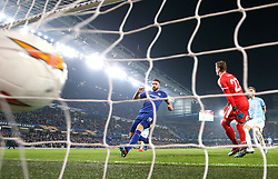 Chelsea's Olivier Giroud (centre) scores his side's first goal of the game