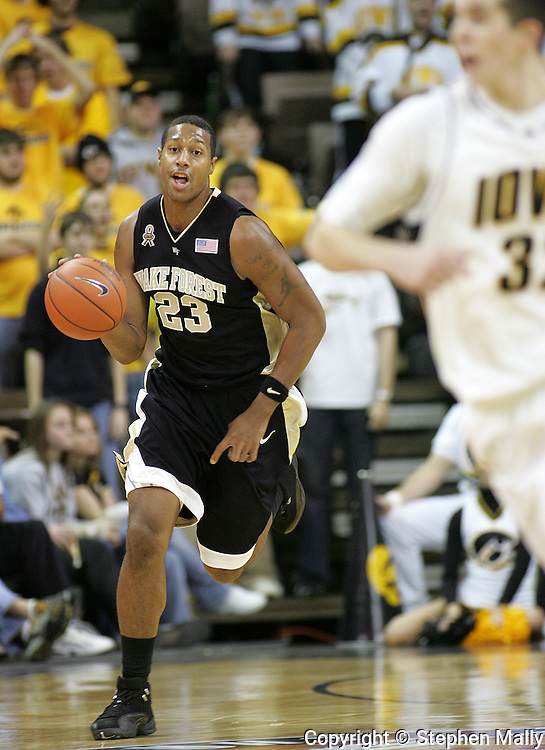 26 NOVEMBER 2007: Wake Forest forward James Johnson (23) brings the ball down court in Wake Forest's 56-47 win over Iowa at Carver-Hawkeye Arena in Iowa City, Iowa on November 26, 2007.