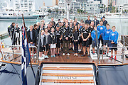 Their Royal Highnesses the Duke and Duchess of Cambridge visit Emirates Team New Zealand to match race each other on version 5 America's Cup Yachts NZL41 and NZL68. 11/4/2013