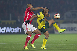 March 18, 2017 - Pacos De Ferreira, Pacos Ferreira, Portugal - Benfica's Brazilian defender Luisao (L) with Pacos Ferreira's Brazilian forward Welthon (R) during the Premier League 2016/17 match between Pacos Ferreira and SL Benfica, at Mata Real Stadium in Pacos de Ferreira on March 18, 2017. (Credit Image: © Dpi/NurPhoto via ZUMA Press)