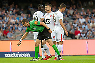 Referee Chris Beath draws the line before the free kick at the Hyundai A-League Round 6 soccer match between Melbourne Victory and Western Sydney Wanderers at Marvel Stadium in Melbourne.